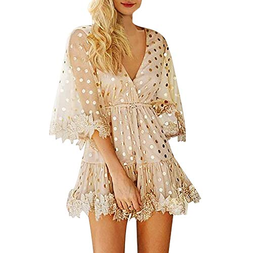 Mikilon Women's Cute Sequin Polka Dot Mesh Long Sleeve Dress Deep V Neck Ruffle Hem Mini Party Dresses Gold ()