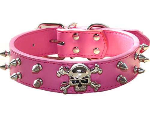haoyueer Spiked Leather Dog Collar - 2 Rows Bullet Rivets Studded PU Leather - Cool Skull Pet Accessories for Medium and Large Dogs(Hot ()