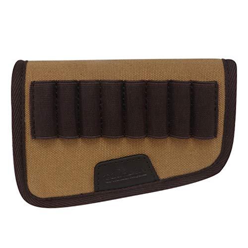 (TOURBON Canvas and Leather Rifle Buttstock Ammo Cartridge Holder)