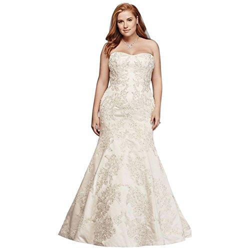 (Oleg Cassini Satin Trumpet Wedding Dress with Lace Style 8CWG594, Ivory, 26W )