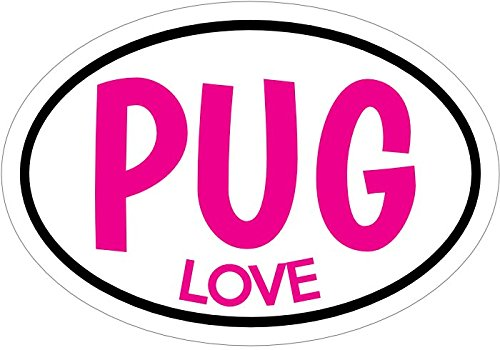 Puggles In Costumes (PUG Decal - PINK PUG LOVE Vinyl Sticker - Pug Bumper Sticker - Dog Decal - Perfect PUG Owner Gift - Made in the USA)
