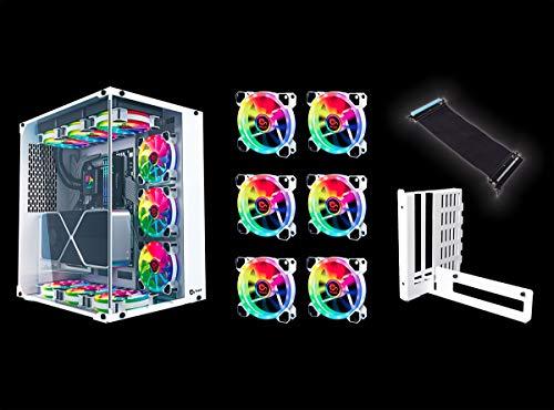 [TALIUS Sparpaket]: Gaming Chronos ATX + 6 Lüfter Iris Spectrum RGB+ VGA Riser Adapter (in Zwei Farben erhältlich) (Weiß)