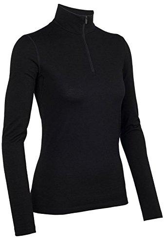 (Icebreaker Women's Oasis Long Sleeve Half Zip Top, Black, Medium)