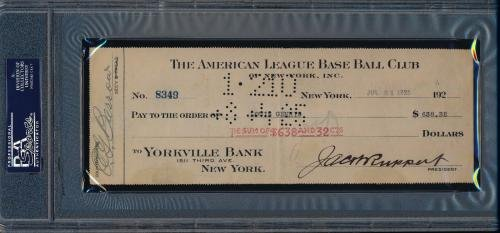 Lou Gehrig 1925 Rookie Signed Payroll Check AUTO 9 VERY RARE!! PSA/DNA Certified MLB Cut Signatures