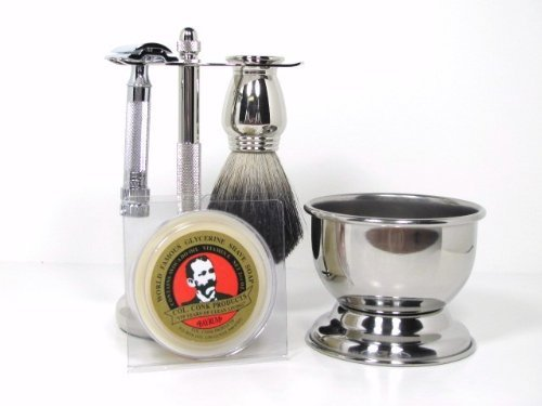 Colonel Ichabod Conk 5-Piece Chrome Shaving Set- Merkur #178 Safety Razor, Brush, Razor/Brush Stand, Soap Bowl & Shave Soap by Colonel Conk