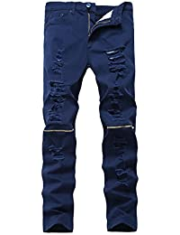 "<span class=""a-offscreen"">[Sponsored]</span>Men's Skinny Ripped Distressed Destroyed Slim Straight Fit Zipper Jeans With Holes"