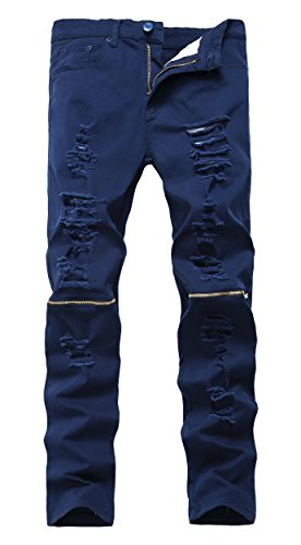NITAGUT Men's Skinny Ripped Distressed Destroyed Slim Straight Fit Zipper Jeans With Holes Navy Blue-US 34 (Skinny Jeans Fashion Men)
