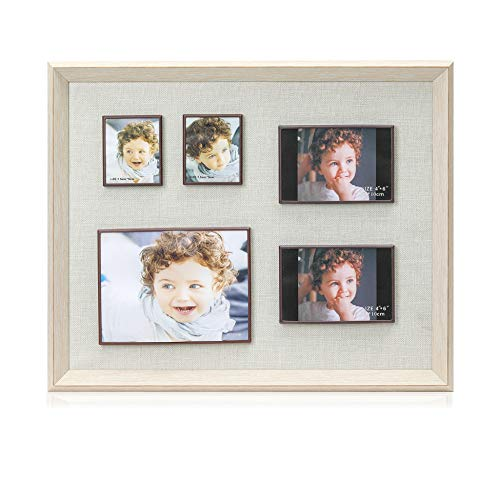 Display Shadow Box Magnetic Picture Frames Set, Linen Back Showcase Frame-Ready to Hang, 5 Photo Collage Frames with Magnets - Personalized Wall Art Decor