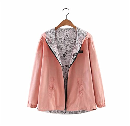 (Daxvens Cute Reversible Casual Jacket Short Coat with Hood 2 Side Wear for Young Teen Girls Women)