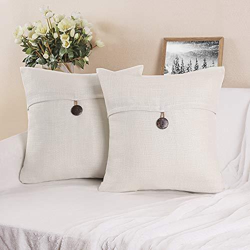 Phantoscope Set of 2 Single Button Linen Decorative Throw Pillow Case Cushion Cover Light Beige 22