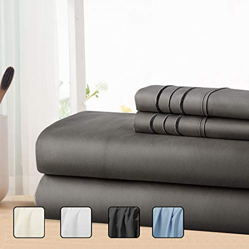 COHOME King Bed Sheets Set 4 Piece, Microfiber 1800 Thread Count Luxury Egyptian Sheets-Stain Wrinkle Fade Resistant, Hypoallergenic 16 inch Deep Pocket Bedding Set (Dark Grey) (Sheet Set King)