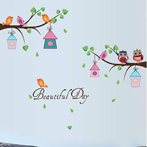 Wall Stickers - Cartoon DIY Animal Owl Tree Wall Stickers Birds Branchs Vinyl for Kids Home Decor Mural Removable Decal Stickers on The Wall - by PPL21-1 PCs