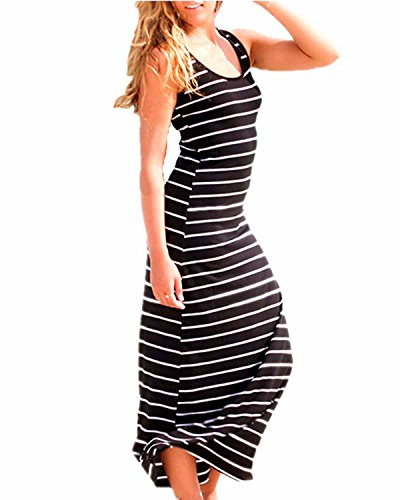 ZANZEA Women Cotton Stripe Sexy Sleeveless Casual Elegant Party Beach Long Tank Dress Sundress Black US 14 (Stylish Scoop Neck Sleeveless Striped Womens Sundress)