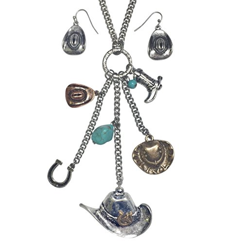Western Theme Mixed Charms Tassel Necklace & Earring Set (Cowboy (Western Prom Themes)