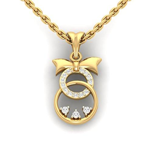 Or jaune 18K 0,1ct tw Round-shape Diamant (IJ   SI) diamant Pendentif
