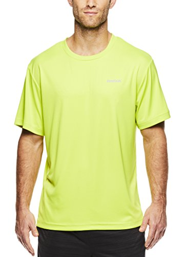 - Reebok Men's Supersonic Crewneck Workout T-Shirt Designed with Performance Material - Lime Punch Heather Green, Small