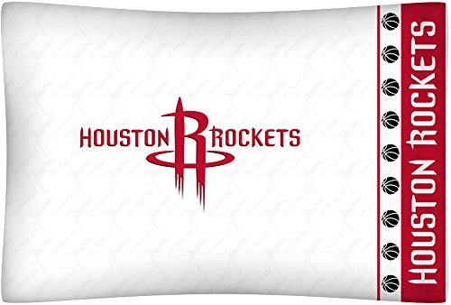 NBA Houston Rockets Micro Fiber Pillow Cases, Standard, White (Rocket Micro)
