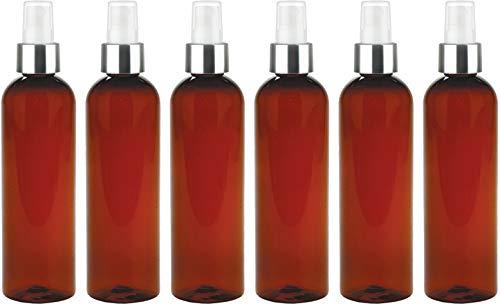 Fine Mist Spray Bottle, Refillable - Reusable Empty Dark-Amber Round 8 Oz. Bottles (Pack of 6) by Bar5F