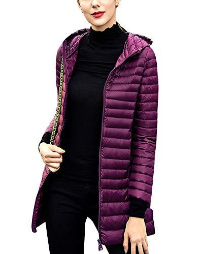 GladiolusA Women's Ultralight Packable Hooded Long Jacket Coat Outwear Dark Purple