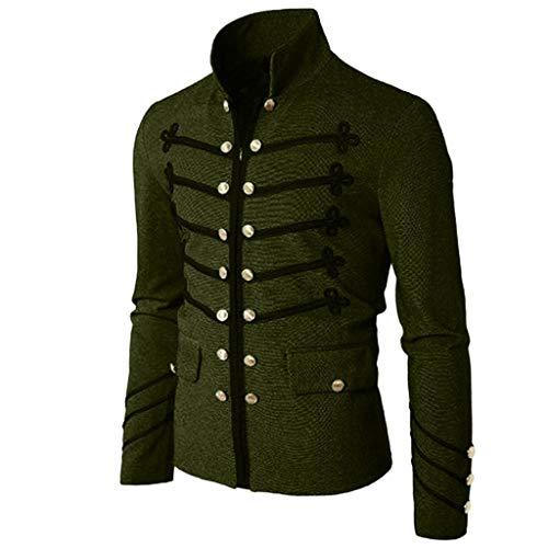 Mens Gothic Jacket Military Vintage Coat Steampunk Victorian Button Zip Uniform Outwear (L, Army Green)