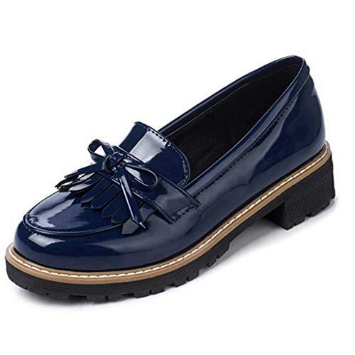 Womens Leather Slip on Flat Oxfords Shoes Fringe Low Heel Platform Loafers Dress Pumps Shoes Blue