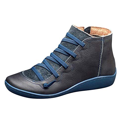 Aurorax Womens Winter Casual Flat Leather Retro Booties Lace-up Side Zipper Round Toe Anti-Slip Outdoor Ankle Shoe Boots (Blue, US:6/CN:36)