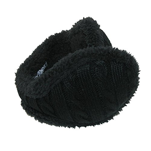 180s Womens Cable Knit Ear Warmers, Black