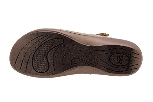 PieSanto Calzado Mujer Confort de Piel 1817 Sandalia Plantilla Extraíble Cómodo Ancho Visón