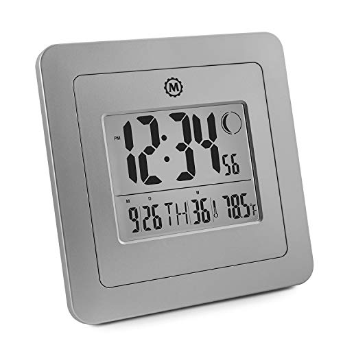 Marathon CL030049GG Digital Wall Clock with 4.5 Inch Large Display, Moon Phase, Date and Indoor Temperature. (Also Functions as a Jumbo Timer!!!) - Batteries Included (Graphite Grey)
