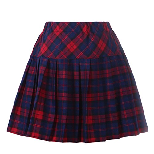 Vintage Sailor Uniforms (Genetic Los Angeles Girl's vintage navy clothing School Elasticated Pleat Skirt (L, Blue Red))