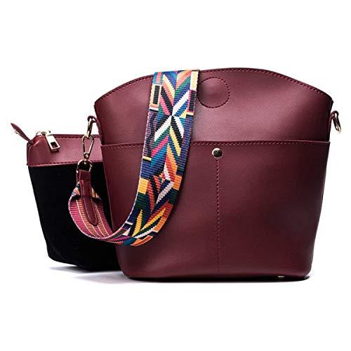 Femeninos Piezas Bolsos Bolso Eeayyygch Dos Una La Capacidad color Moda Burgundy Gran Negro De Con Tamaño PRwvXq