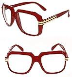 Men's Hip Hop 80's Gazelle Vintage Clear Lens Eye Glasses 607 Grandmaster Retro 80's (Red Gold, Clear)