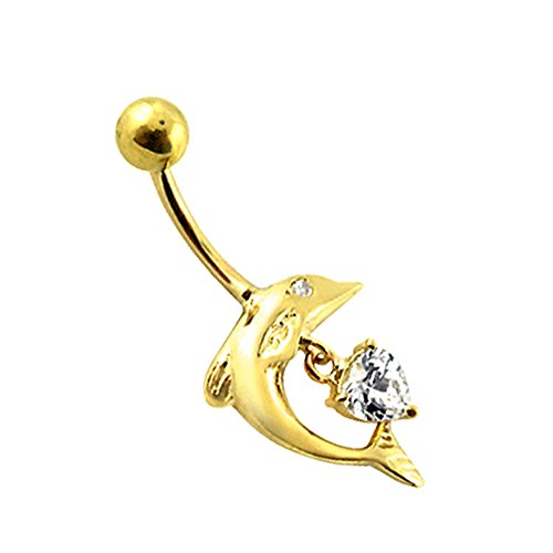 - 14K Solid Yellow Gold Jumping Dolphin Dangling CZ Stone Heart Belly Ring