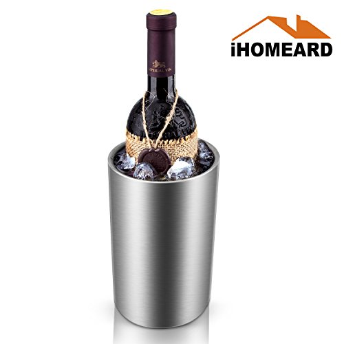 Champagne Bucket, Ice Bucket Double Wall, Stainless Steel Insulated Wine Cooler Chiller Straight Waist-Shaped Ice Bucket Chilling Wine and Liquor Bottles Party Events Catering Bar Easy Carrying