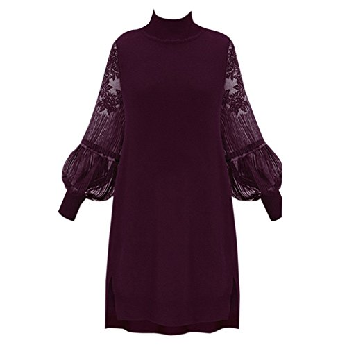 Puff Sleeve Wrap (Fairyler Women Oversize Puff Sleeve Lace Midi Dress Vintage Floral Cocktail Dress XL-5XL 2XL)