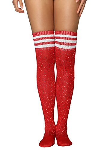 Women's Girls Stripe Diamond Glitter Over The Knee High Stockings Boot Socks (Red(stripe), Free Size) -
