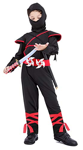 Face Scarf Sash Including Shirt with Hood Arology Child Ninja Costume Fabric for Comfortable Fit Pants