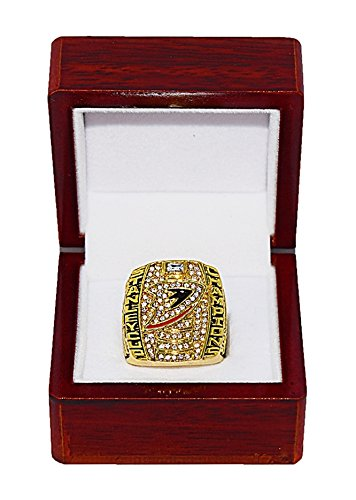 (ANAHEIM DUCKS (Scott Niedermayer) 2007 STANLEY CUP FINALS WORLD CHAMPIONS Rare & Collectible Replica National Hockey League Gold NHL Championship Ring with Cherrywood Display Box)