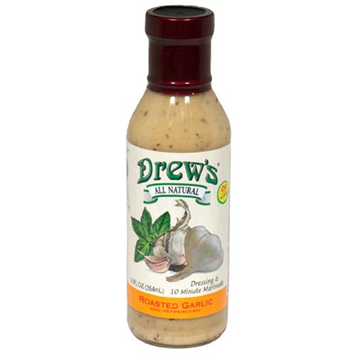 Drew's All-Natural Salad Dressing and 10 Minute Marinade, Roasted Garlic & Peppercorn, 12-Ounce Bottle -