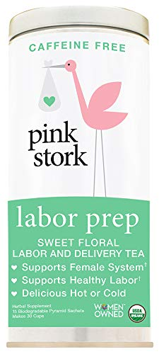 Pink Stork Labor Prep: Sweet Floral Red Raspberry Pregnancy Tea, 30 Cups, USDA Organic Loose Leaf Herbs in Biodegradable Sachets ()