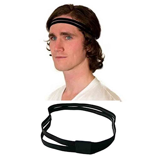 UPmall Sports Headband No Slip Grip Hairband Elastic Pullover Double-straps Silicone Lined Sweatband, Perfect for Running, Fitness, Yoga, Hockey, Soccer, Basketball, Gym, Volleyball (Pack of 10 Color)