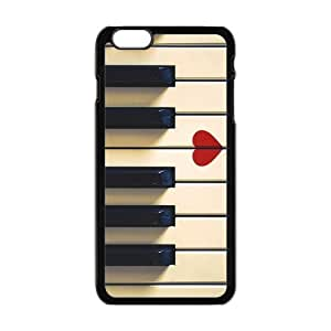 iPhone6 Plus 5.5 Case,Vintage Retro Piano Keys And Red Heart High Definition Fantastic Design Cover With Hign Quality Hard Plastic Protection Case by mcsharks