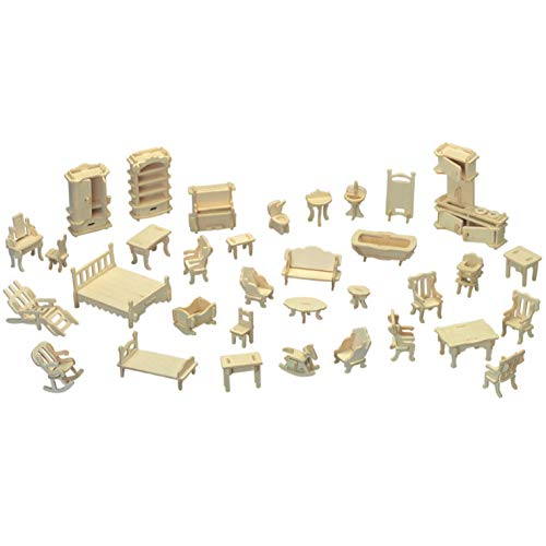3D Wooden Furniture Puzzle,Scale Miniature Jigsaw Doll House Toys-DIY Craft Coloring Assembly Building Model Kits,Brain Teaser IQ Game,Gifts for Kids Teens Adults