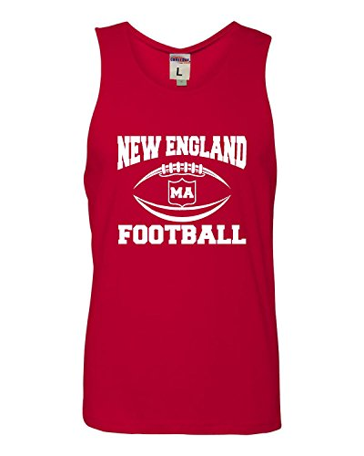 - Large Red Adult New England Football Sleeveless Tank Top Cotton T-Shirt