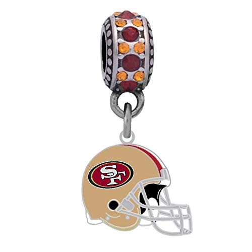 Final Touch Gifts San Francisco 49ers Helmet Charm Fits European Style Large Hole Bead (Crystal San Francisco 49ers Bracelets)