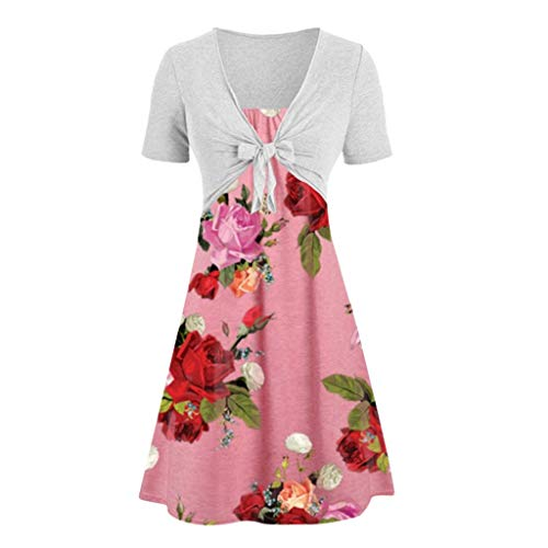 FengGa Women Dress Two Piece Suits Casual Sexy Sleeves High Waist Solid Bow Knot Shawl Coat Strap Flower Print Dress Pink ()