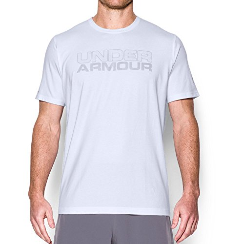 Under Armour Men's Mesh Gel Wordmark T-Shirt, White/Clear, X-Large
