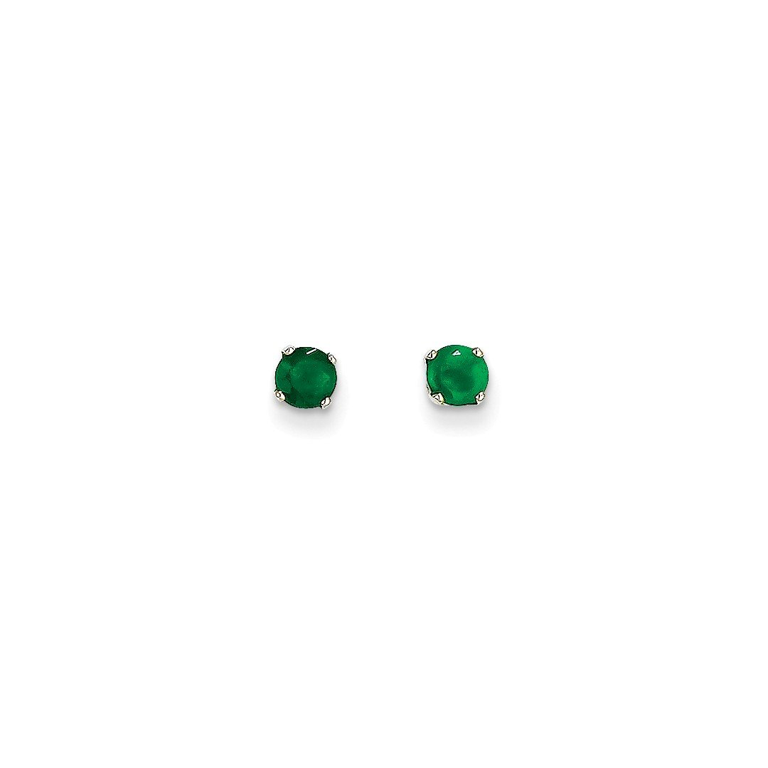 ICE CARATS 14k White Gold 4mm Green Emerald Stud Ball Button Earrings Birthstone May Prong Fine Jewelry Gift Set For Women Heart
