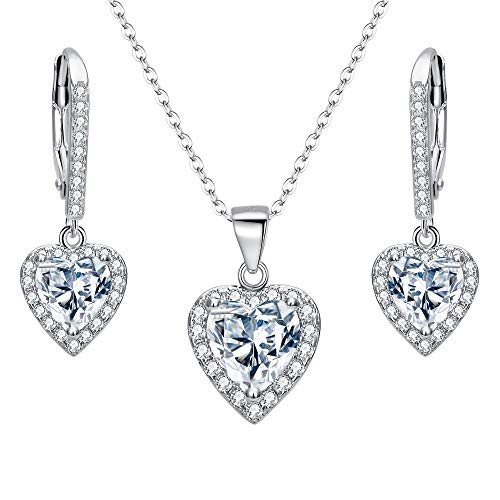 EleQueen 925 Sterling Silver Cubic Zirconia Love Heart Bridal Pendant Necklace Leverback Earrings Set Clear