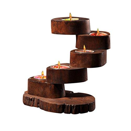 Fjfz 5 Decorative Vintage Teak Wood Natural Log Tea Light Candle Holders for Party Dining Table